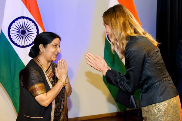 Shushma Swaraj, Minister of External Affairs (left) and president of the EUAA Dr Harsha Gramminger